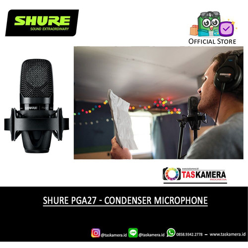 Foto Produk SHURE PGA27 Condenser Microphone - SHURE PGA 27 Podcast Mic dari taskamera-id