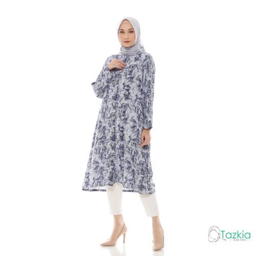 Foto Produk Atasan Muslim Wanita | Marble Long Tunik Abu | Tie Dye Rayon - Abu dari Tazkia Hijab Store