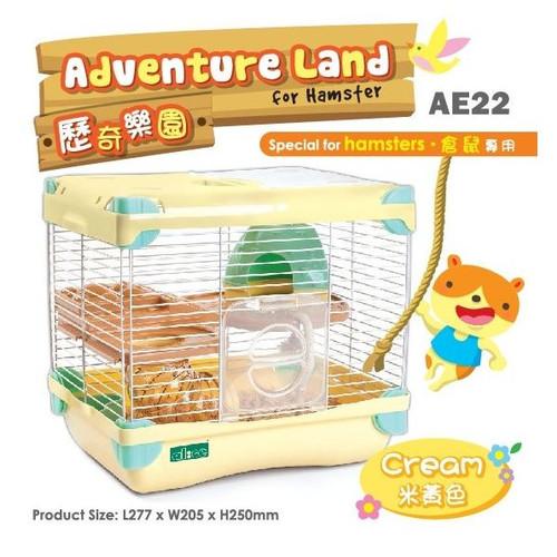 Foto Produk AE22 Alice Adventure Land for Hamster Cream Kandang Jeruji 2 Lantai dari Hime petshop