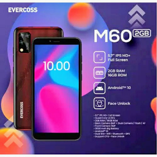 Foto Produk Evercoss M60 2/16 Ram 2GB Internal 16GB Garansi Resmi dari dk-cell