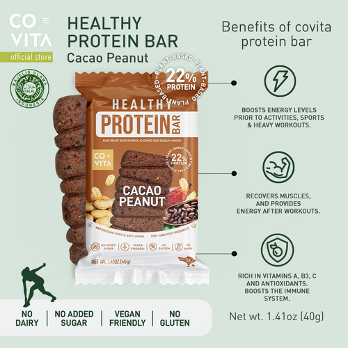 Foto Produk Covita Healthy Protein Bar - Cacao Peanut- Makanan Instant Sehat dari Covita