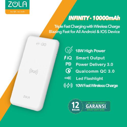 Foto Produk Zola Infinity PD & QC3.0 Wireless Fast Charging 10W Powerbank 10000mAh - Putih dari Zola Indonesia