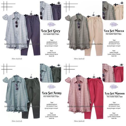 Foto Produk New Lea Set Setelan Celana Wanita Baju Kerja Modis XXL LD 110cm dari Ilyassa Shop