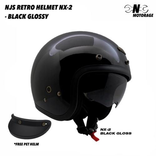 Foto Produk Helm Motor NJS NX-2 Half Face Retro - Black Glossy / Hitam Gloss - L dari CNC Motorage