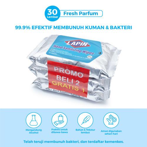 Foto Produk BUY2 GET1 Lapin Tisu Basah Alcohol Hand Sanitizing Fresh Parfum 30s dari Lapin Official