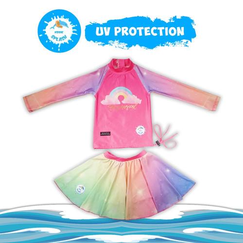 Foto Produk Baju Renang Bayi Anak Laki Laki Perempuan UV Protection KIDDIE SPLASH - Pink Rainbow, XL dari KIDDIE SPLASH INDONESIA