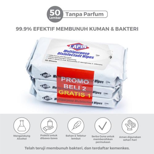 Foto Produk BUY2 GET1 Lapin Tisu Basah Multipurpose Disinfectant Tanpa Parfum 50s dari Lapin Official