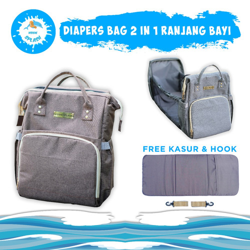 Foto Produk Tas Bayi 2in1 | Diaper Bag Ranjang Bayi Multifungsi KIDDIE SPLASH - Brown Gold dari KIDDIE SPLASH INDONESIA