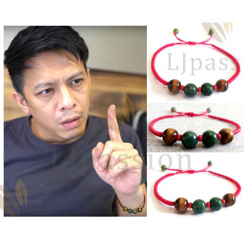 Foto Produk Gelang Ariel Batu Tiger Eye Agate Hijau Tali Merah Lucky Knot - S dari Passion