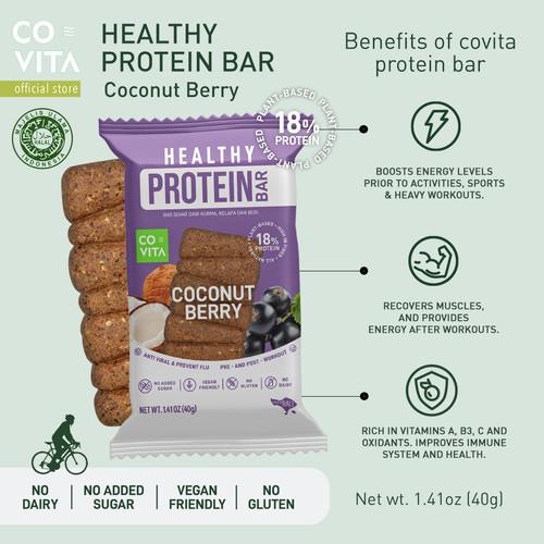 Foto Produk Covita Healthy Protein Bar - Coconut Berry - Healthy Snack dari Covita