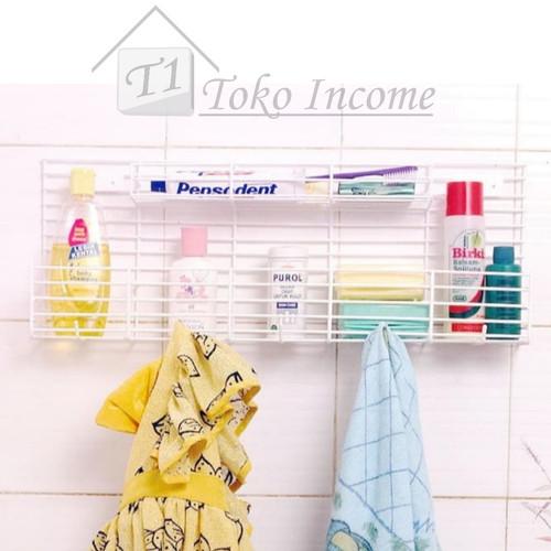 Foto Produk Rak Kamar Mandi Plus Hook Sabun Odol Sikat Shampo Bathroom Rack dari Toko Income