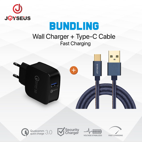 Foto Produk Charger JOYSEUS QC3.0 Quick Charging Black+ TYPE C Cable 2.4A - CL8KB3 dari Joyseus Official Store