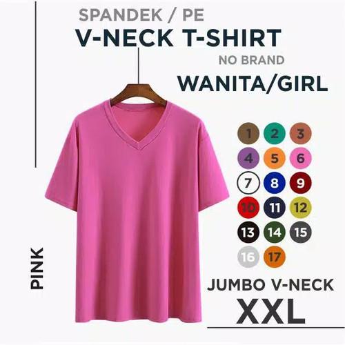 Foto Produk (promo) kaos polos wanita V-neck jumbo XXL - pink, XXL dari rejekyindah