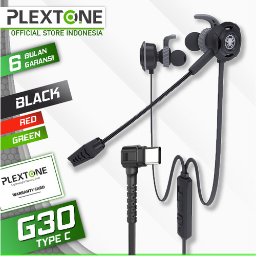 Foto Produk Plextone G30 type C with Mic Stereo Bass Gaming Hammerhead Earphone - Hitam dari Plextone Official