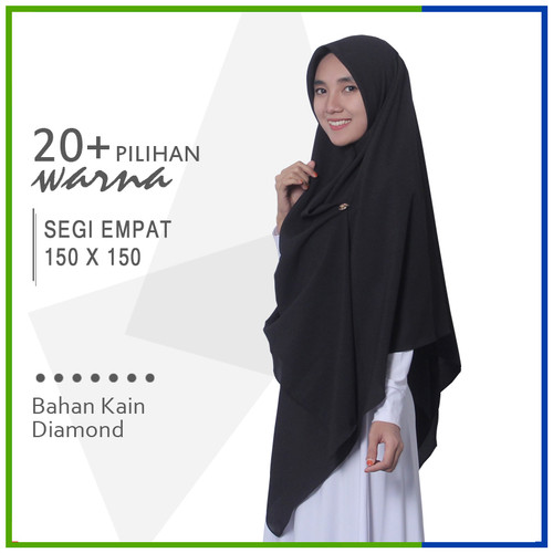 Foto Produk Jilbab Segi Empat 150 x 150 Diamond Pashmina Sabyan Jumbo Syari dari Jilbab Mazoya