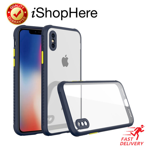 Foto Produk Anti Crack Clear Tread Hard Case Casing Bening iPhone X XR XS Max - Biru, X - XS dari iShop Here