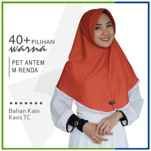 Foto Produk Jilbab Instan Pet Antem Renda M / Hijab Kaos Bergo Pet RENDA Size M dari Jilbab Mazoya