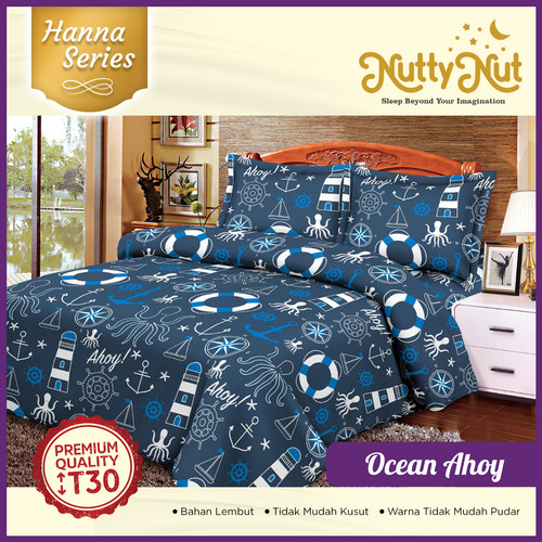 Foto Produk Nutty Nut Bed Cover Set microtrx Hn - 160x200x30 King - Ocean Ahoy dari Nutty Nut