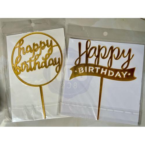 Foto Produk Cake Topper Acrylic Happy Birthday - Bulat HBD dari nos238