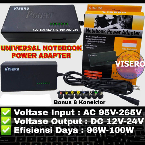 Foto Produk VISERO adaptor laptop POWER ADAPTER Charger Universal 12-24V 96W dari Warunglistrik