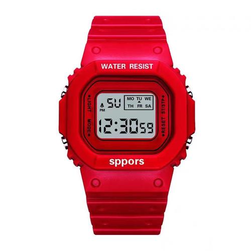 Foto Produk Semua Gratis - Jam Tangan Wanita Student Waterproof Digital Watch - Merah dari Semua Gratis
