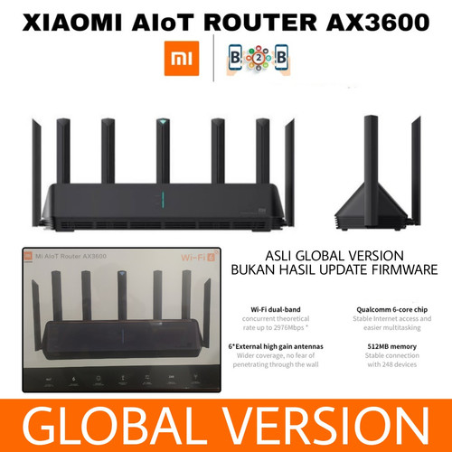 Foto Produk XIAOMI AIoT ROUTER AX3600 - WiFi 6 Wireless 2976Mbps Support 248Device - GLOBAL VERSION dari b2b mobile