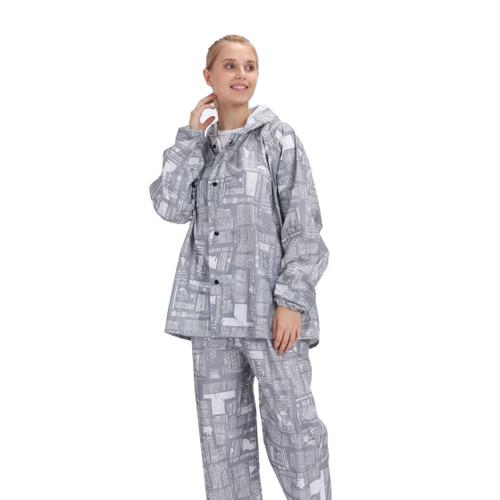Foto Produk Jas hujan setelan celana motif koran / print / GRC - 81016 - Abu-abu, XXL dari jktumbrella