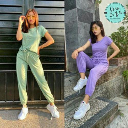 Foto Produk One Set Dinda | Celana Jogger Wanita | Baju Kaos | Setelan Wanita - Ungu dari Yeha Outfits