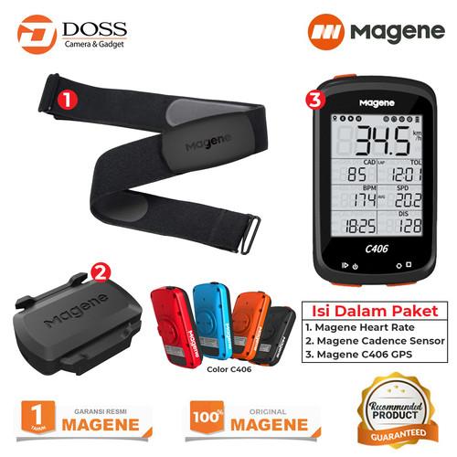 Foto Produk Paket Magene C406 Speedometer / Cadence Sensor / Magene heart rate - Hitam dari DOSS