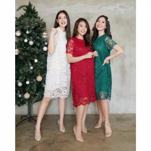 Foto Produk MAJESTIC LACE DRESS WANITA PESTA PARTY BRUKAT LENGAN PENDEK - dress saja dari Pattern Indo