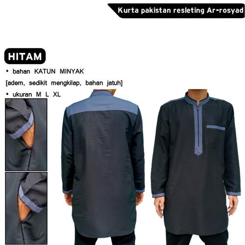 Foto Produk Baju koko pria kurta gamis pakistan resleting ar-rosyad - Hitam, L dari Rosyad moeslim wear