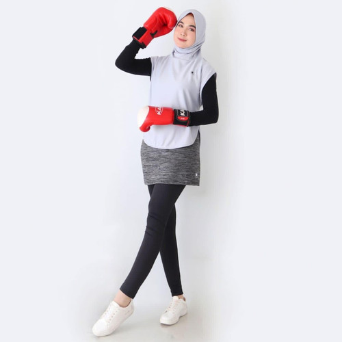 Foto Produk HITJAB - Rompi Vest Luaran Hijab Sport Olahraga Utk Lari Senam Sepeda - VEST GREY dari Hitjab & Co