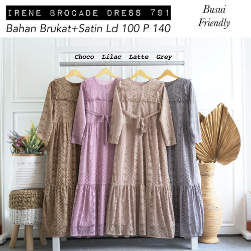 Foto Produk [REAL PICTURE] IRENE BROCADE DRESS BRUKAT SATIN TANAH ABANG PGMTA dari FaVia Shop
