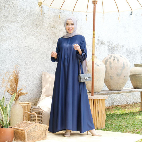 Foto Produk [REAL PICTURE] BELVINA DRESS HAZELNUT IMPORT TANAH ABANG PGMTA METRO - NAVY dari FaVia Shop
