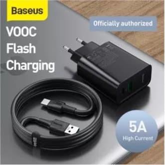 Foto Produk Baseus Charger Dual USB QC 30W PPS + Kabel Type C Oppo VOOC 5A EU - Hitam dari BASEUS JAKARTA