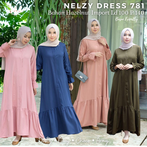 Foto Produk [REAL PICTURE] NELZY DRESS HAZELNUT IMPORT TANAH ABANG PGMTA METRO dari FaVia Shop
