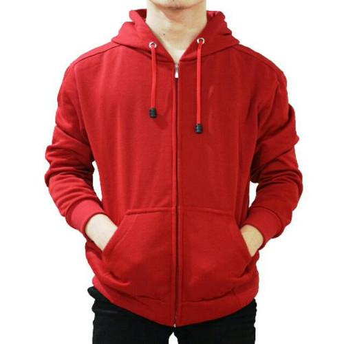 Foto Produk Best seller !!! Jaket Sweater Polos Hoodie Zipper/Resleting Merah - ZIPPER MERAH, M dari stuvco.sportswear