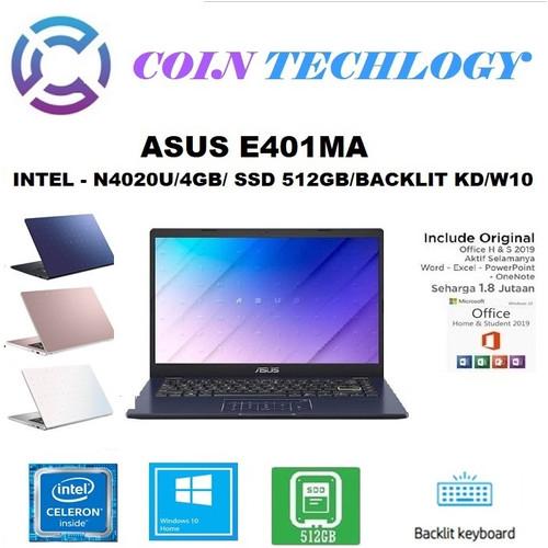 "Foto Produk LAPTOP ASUS E410MA - N4020 4GB 512GB SSD BACKLIT KB 14"" WIN10 - BV451TS BIRU dari Coin Techlogy"