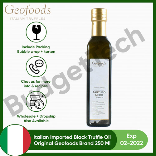 Foto Produk Premium Black Truffle Oil 250 ml Geofoods imported Italy Tartufo Nero dari Budgettech