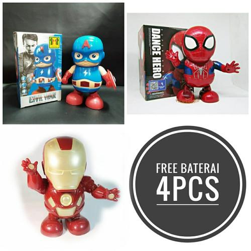 Foto Produk Mainan Anak Laki Laki / Dance Robot Hero Iron man Spiderman Capt Ameri dari fina fani store