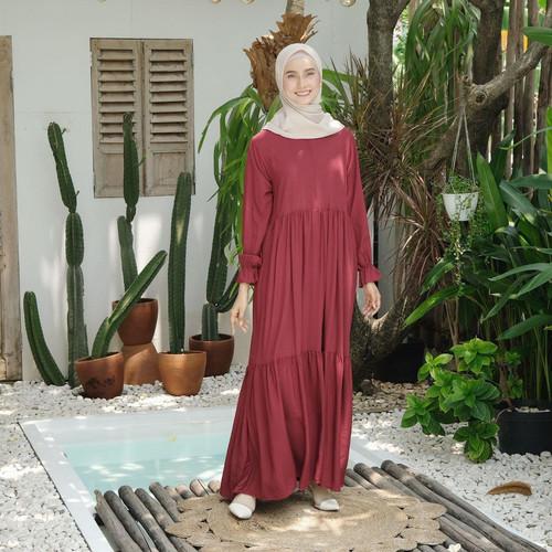 Foto Produk [REAL PICTURE] MERVA PLAIN DRESS RAYON ADEM TANAH ABANG PGMTA METRO - MAROON dari FaVia Shop