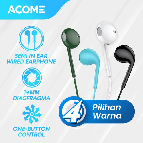 Foto Produk ACOME Headset Stereo Sound Microphone Semi In Ear Wired Earphone - Blue dari Acome Indonesia