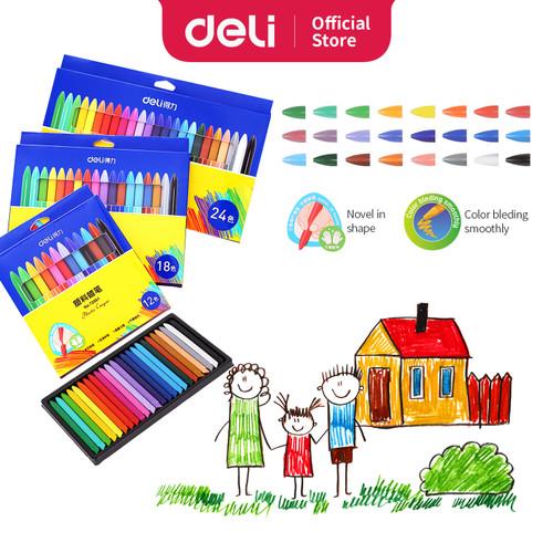 Foto Produk Deli Krayon sekolah Plastik 18 warna, Non-Toxic, bentuk segitiga 72062 - 18 color 72062 dari Deli Stationery