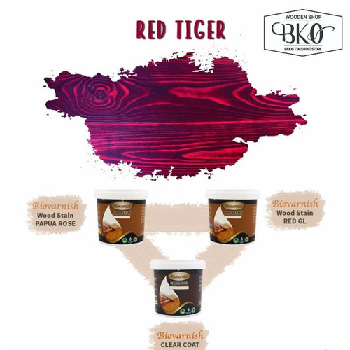 Foto Produk paket finishing biovarnish red Tiger cat kayu pernis waterbased CUP dari BKO Wooden shop
