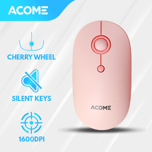 Foto Produk Acome Mouse Fashion Color Wireless Silent Click Ergonomic AM300 - Pink dari Acome Indonesia