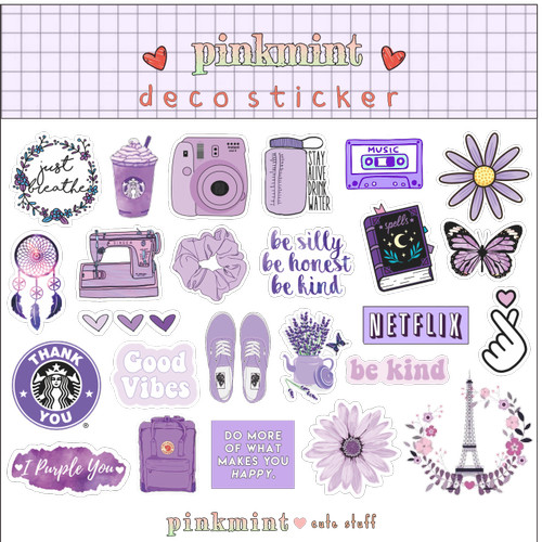 Jual Sticker Aesthetic Ungu Untuk Hiasan Hp Laptop Catatan Bujo Jakarta Barat Pinkmint Shop Tokopedia