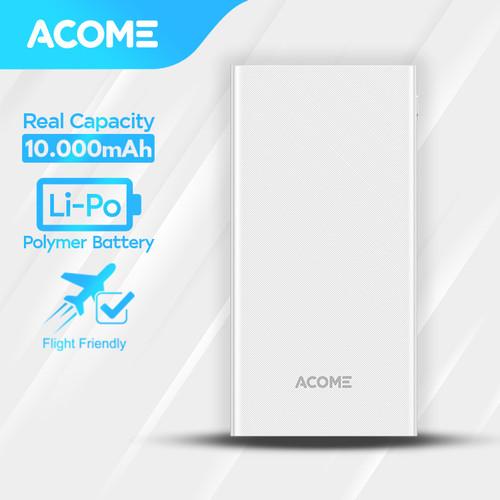 Foto Produk ACOME Powerbank 10000mAh 2 USB Output - Garansi Resmi 18 Bulan - AP103 - Putih dari Acome Indonesia