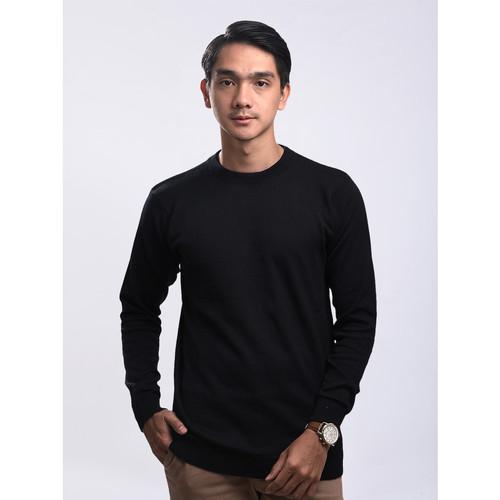 Foto Produk Sweater Rajut Pria Gomuda - O-Neck Polos Hitam - Hitam, L dari Gomuda