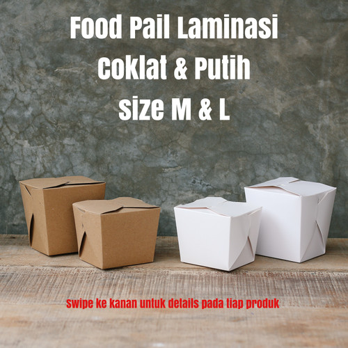 Foto Produk FOOD PAIL - RICE BOX - PAPER LUNCH BOX - NOODLE BOX - FOOD GRADE S M L - Cokelat, M dari Serbiserbaserbaserbi