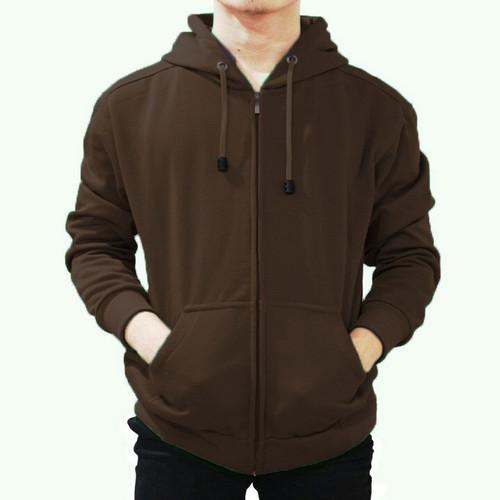 Foto Produk Best seller !!! Jaket Sweater Polos Hoodie Zipper/Resleting Coklat - ZIPPER COKLAT, M dari stuvco.sportswear